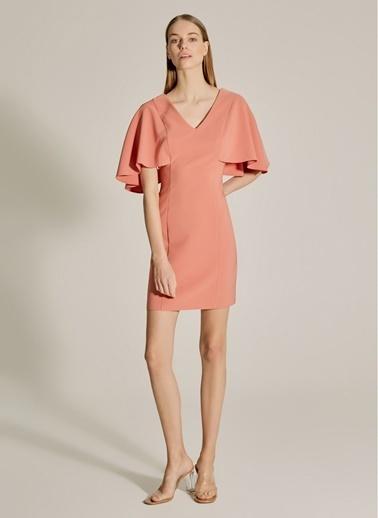 NGSTYLE Sırtı Bant Detaylı Pelerin Kollu Elbise Gül Kurusu